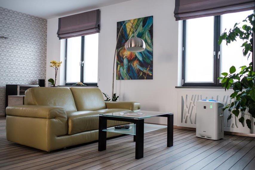 Ein Lufteiniger im Wohnzimmer